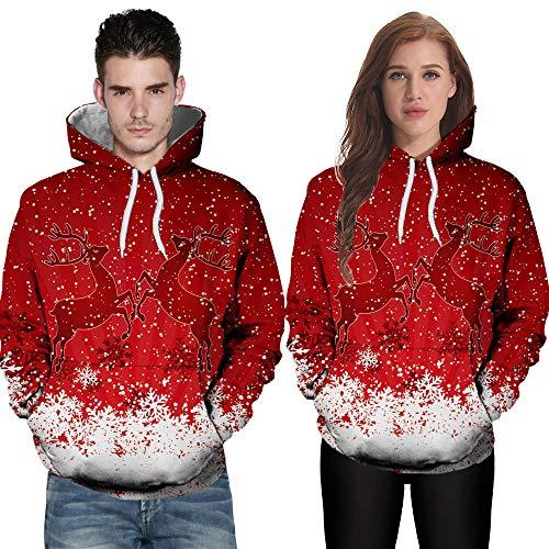 Natale Amante Bhydry Di Felpata Manicotto Hoodies Inverno e Rosso Lungo Casuale Autunno Stampa Del Di 8qgwqdxr