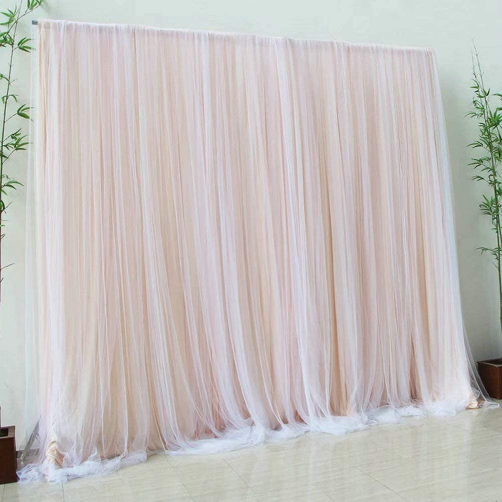 Atongham Cream Beige Tulle Chiffon Backdrop for Bridal Shower Wedding Ceremony Backdrops Curtains Newborn Baby Shower Backdrop Photo Booth Background Photography