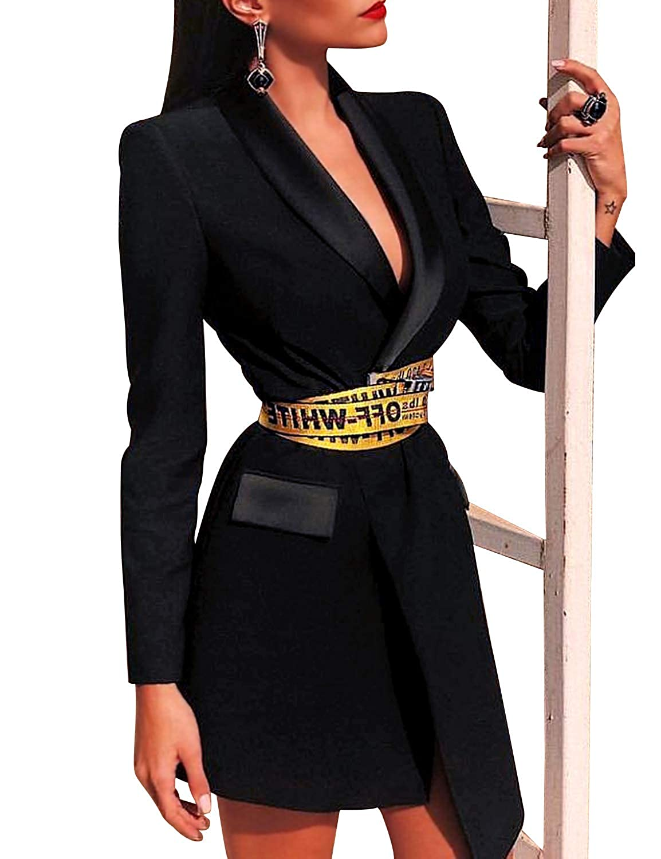 a47614fd5ac Amazon.com  Sunlen Women Sexy V Neck Long Sleeve Asymmetric Short Hem Blazer  Dress Business Party Occasions SL1BH5930(Black