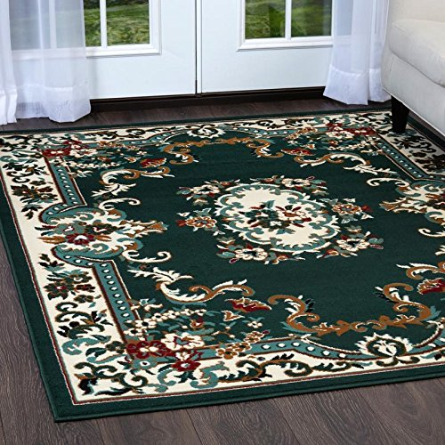 Hunter Green Area Rug - Home Dynamix Premium Astana Area Rug by Traditional Persian-Style Accent Rug | Classic Medallion Print Dining Room Rug | Timeless Home Décor | Hunter Green, Cream 21