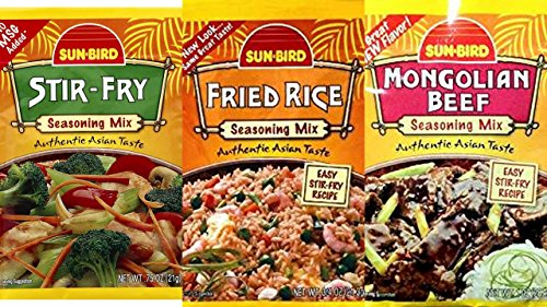 Fried Rice Stir Fry - Sunbird Seasoning Mix Variety Bundle, 0.74-1 oz (Pack of 6) includes 2-Packets Fried Rice + 2-Packets Stir Fry + 2-Packets Mongolian Beef