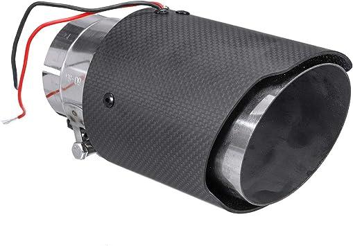 2.5/'/' Inlet Carbon Fiber Stainless Steel Exhaust Muffler Tip Pipe Blue LED Light