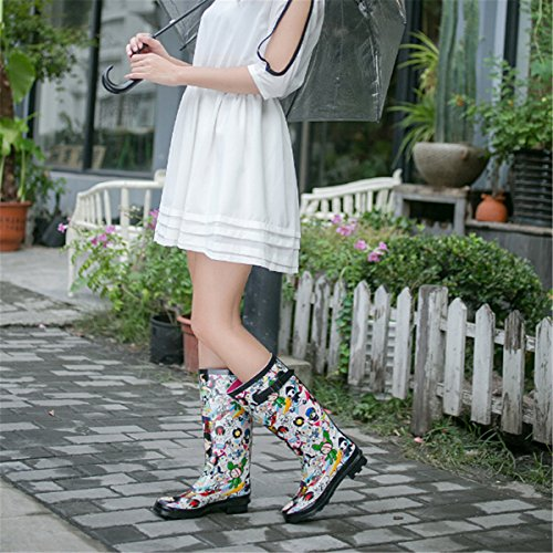 Colorful gracosy Boots Puddles Women Rain High Classic Rubber Mid Calf Boots Knee Young Waterproof White Rain YYA6qr