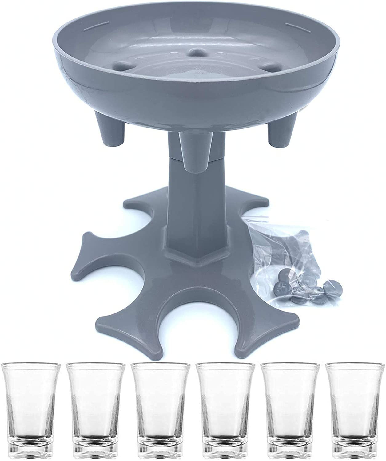 BEITESTAR 6 Shot Glass Dispenser - Multiple Shot Dispenser With 6 Acrylic Cups for Filling Liquids, Wine Dispenser, Cocktail Dispenser Drinking Games for Shot Buddy Party Gifts (Grey + 6 Cups)