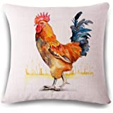 Funny Wholesale Popular Watercolor Rooster Art Colorful Pillow Cover 18 x 18 inches