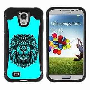 A-type Arte & diseño Anti-Slip Shockproof TPU Fundas Cover Cubre Case para Samsung Galaxy S4 IV (I9500 / I9505 / I9505G) / SGH-i337 ( Majestic Lion Illustration )