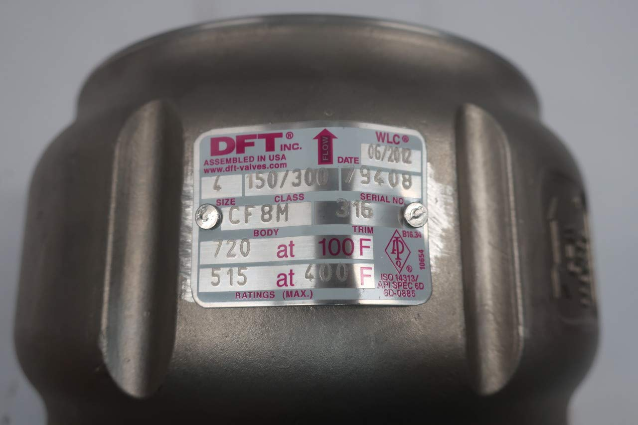 DFT VALVES 9037-98 Class 150//300 Stainless Check Valve 4IN