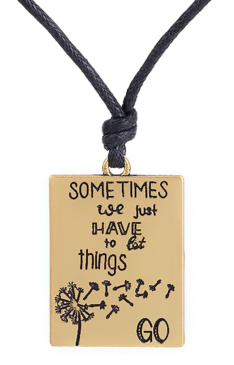 """Nature Scenery Outdoors Landscape Dandelion Pattern""""Sometimes We Just Have to Let Things Go""""Necklace"""