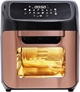 2021 12.7 Quart 10 in 1 XLarge Capacity Air Fryer Oven, 10 Accessories, 10 Easy Presets W/ Digital Touch Screen Controls & Integrated Digital Temperature Probe, Advanced Program, Sear, Stage, Preheat, Delay, Warm, Rotisserie, W/Light, Come W/ Never Rust Stainless Steel Crisper Trays, Drip Tray, Round Basket, Rotisserie Shaft, Skewers Racks, Rotisserie Spit Assembly & Insertion, Rotisserie Fetch Tool, Fry Basket Handle, 8 Recipes, ETL Approved 180°F-400°F, 120V, 1700W (Gold)