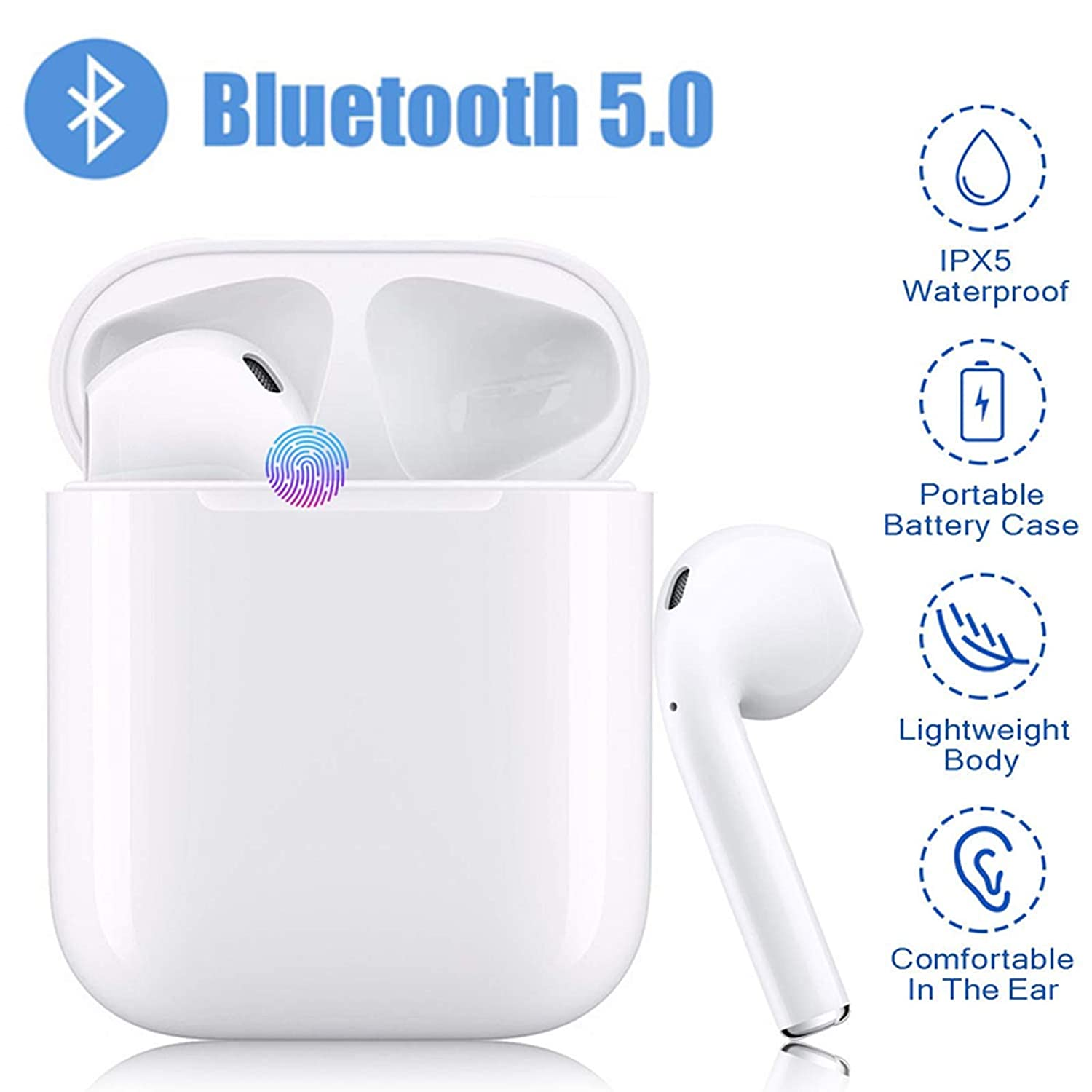 Bluetooth Headphones Wireless Earbuds Stereo Bass Wireless Headphones,Support Fast Charging 24 Hrs Charging Case Pop-ups Auto Pairing,IPX5,Resistant for iPhone Apple Airpods Samsung Android