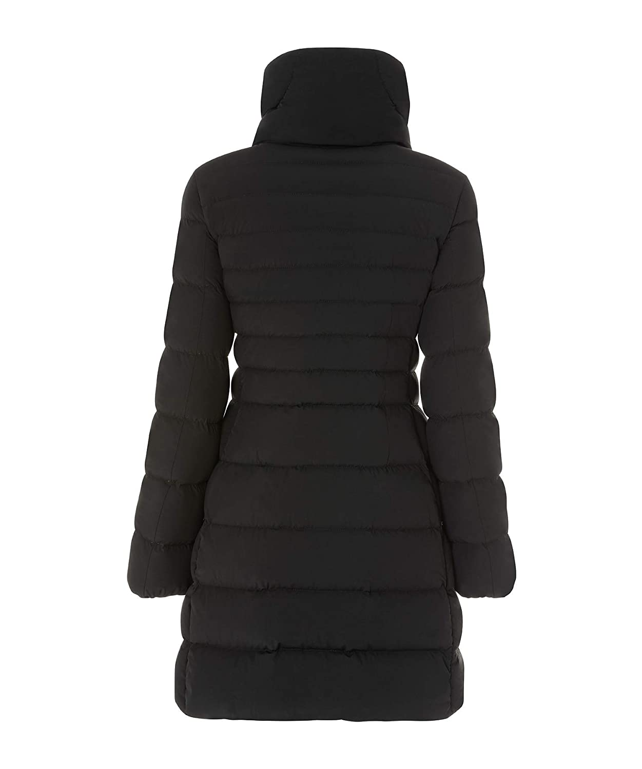 Black Post Card Women's Long Quilted Down Jacket
