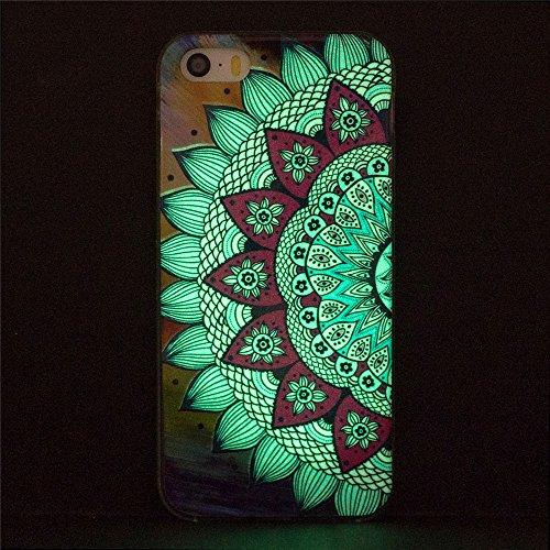 Custodia iPhone 5 5S SE , LH Girasoli Colorati Fluorescenza TPU Silicone Cristallo Morbido Case Cover Custodie per Apple iPhone 5 5S SE