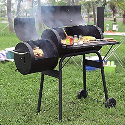 BestMassage BBQ Grill Charcoal Barbecue Outdoor Pit Patio Backyard Home Meat Cooker Smoker Process Paint Not Flake Black from BestMassage