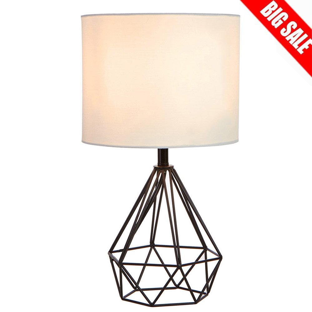 SOTTAE Black Hollowed Out Base Modern Livingroom Bedroom Bedside Table Lamp, Desk Lamp with White Fabric Shade