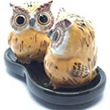Cute Small Ceramic Owl Salt and Pepper Shakers Set Hand Painted T2 (Yellow)