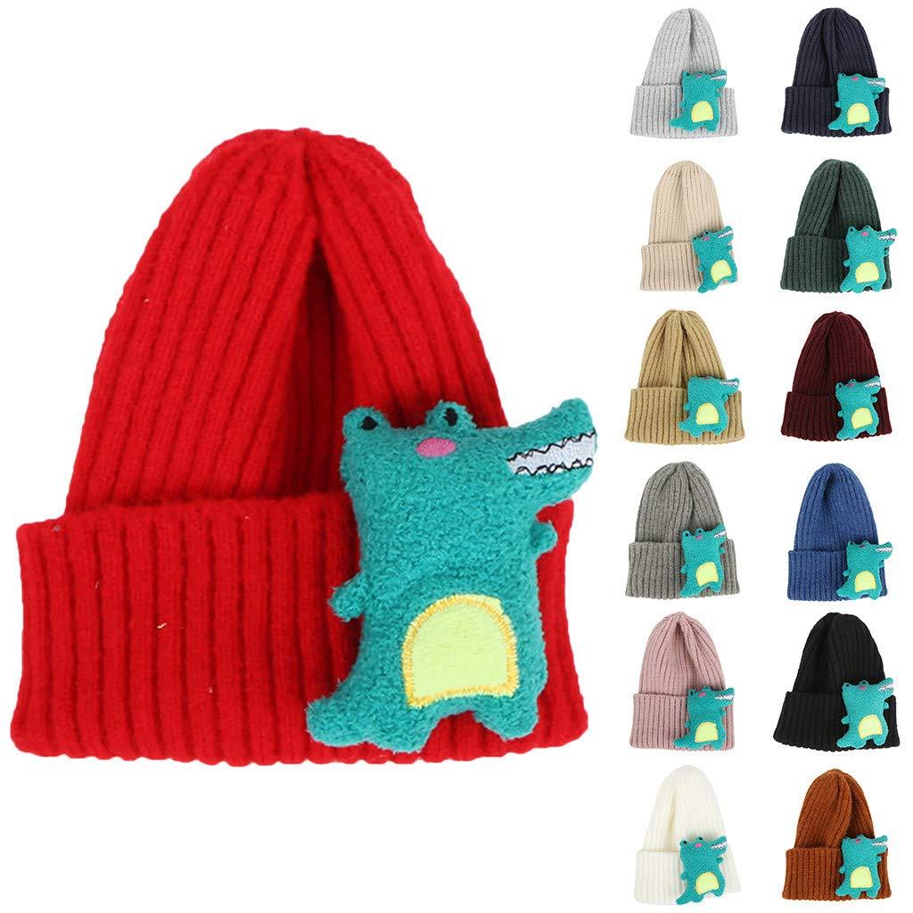 Askwho Cappello Cappellino con Bambola di Dinosauro 1-8 Anni Invernale Autunno Antivento Caldo Chicco Cappello Bambini Neonati Caldo Berretto A Maglia per Bambini Ragazze Unisex