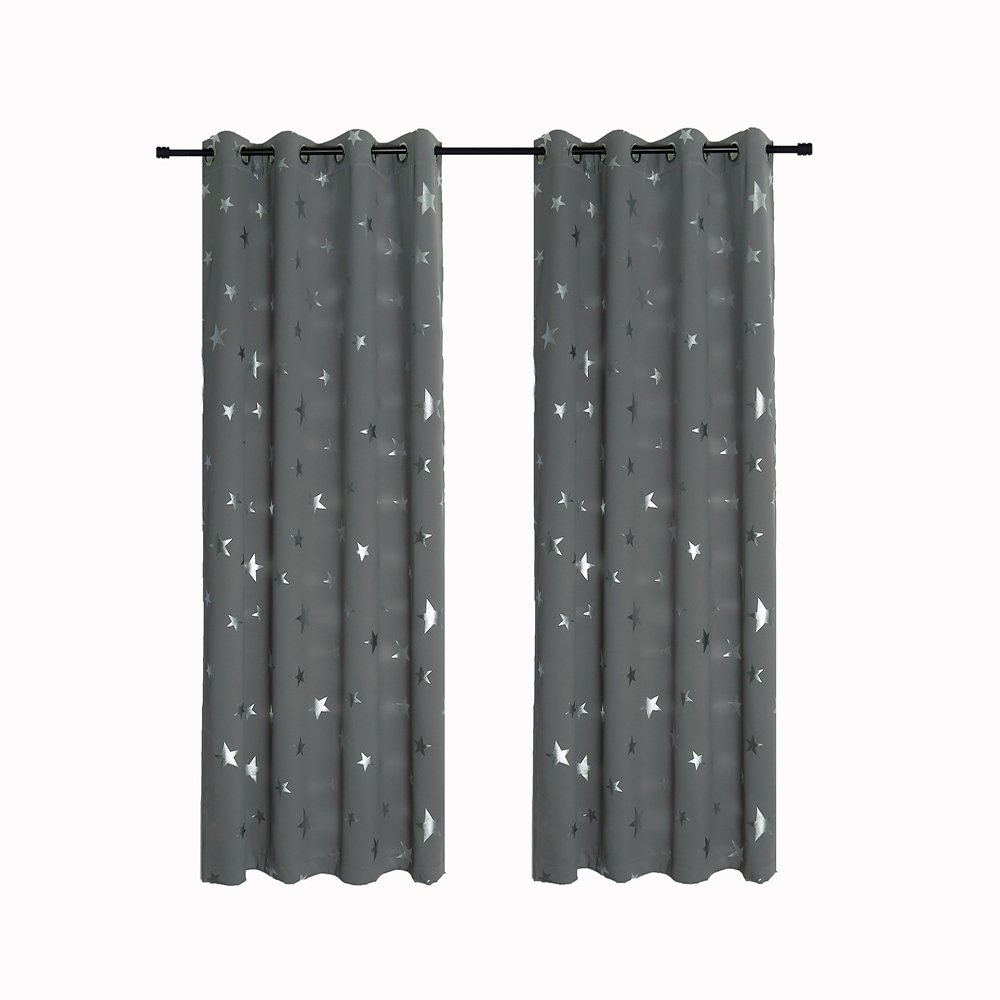 Anjee Silver Star Curtains for Kids Room by (2 Panels), Thermal Insulated Blackout Curtains Perfect for Space Themed Room Décor (Light Blocking and Noise Reducing), W52 x L63 Inches, Space Grey