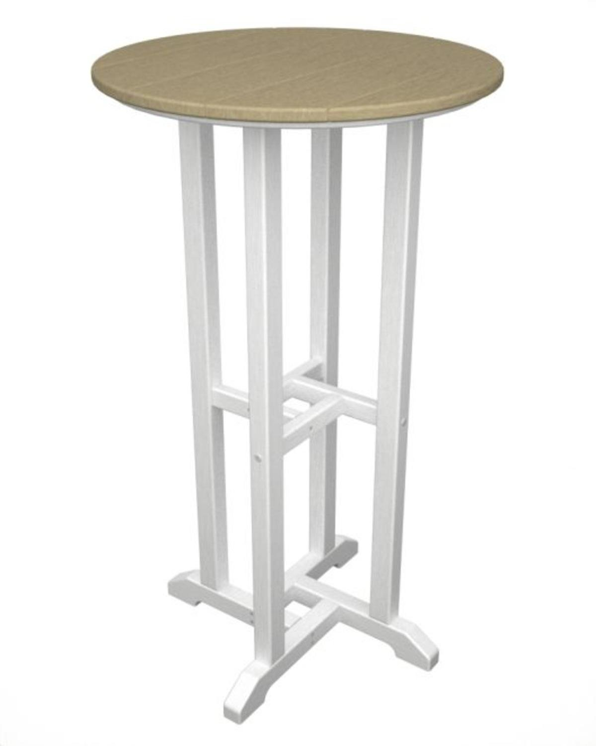 42'' Recycled Earth-Friendly Patio Bar Table - Light Brown with White Frame by Eco-Friendly Furnishings
