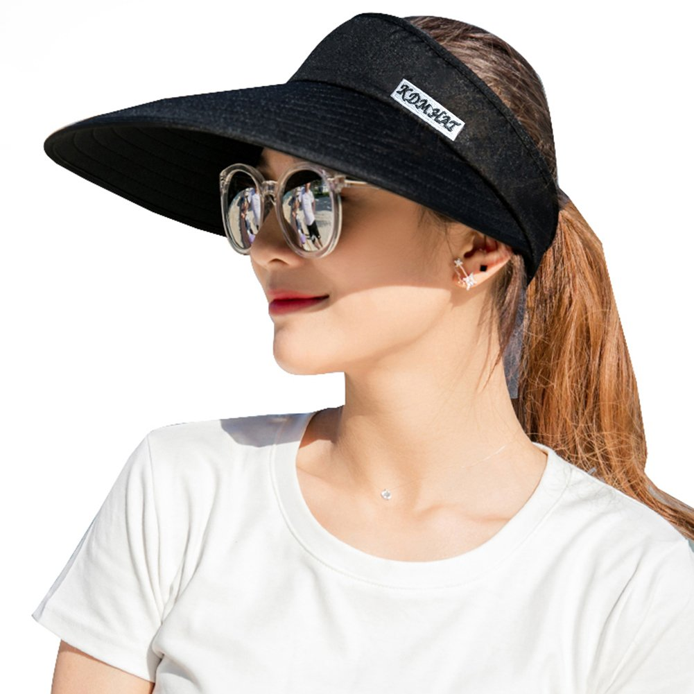 Sun Visor Hats Women 5.5'' Large Brim Summer UV Protection Beach Cap