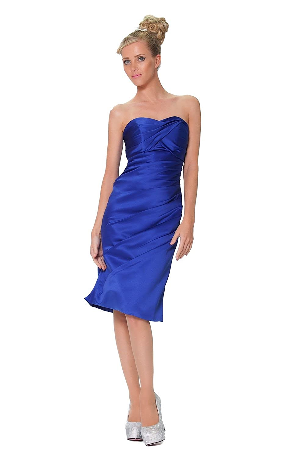 Strapless Bridesmaid Knee Length Dress in Royal Blue - CO8807