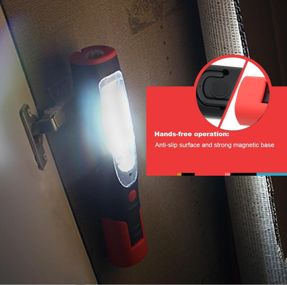 Portable Rechargeable LED Work Light/Flashlight, Spotlight+Floodlight, UL-listed power supply + Car charger, Dual Magnetic Base & Hanging Hook for camping Car Repairing Workshop Emergency Lighting RWL-03 by TORCHSTAR (Image #8)