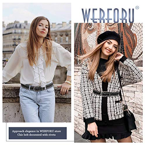 WERFORU Women Rivets Studded PU Leather Belt for Jeans Dress Ladies Punk Waist Belt, Black,Suit for Pants Size 26-29 Inches