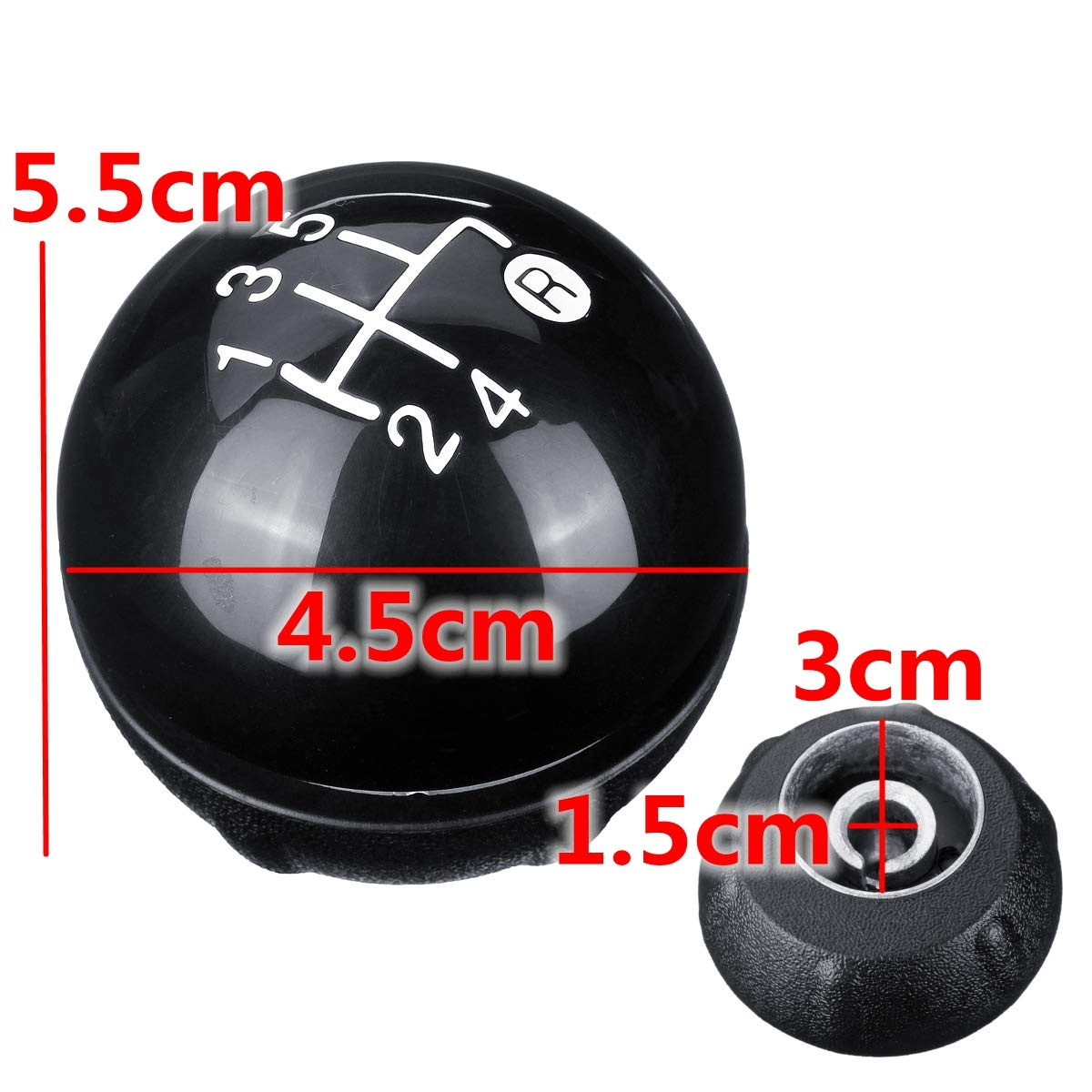 YONGYAO 5 Speed Black Gear Shift Knob Kit For Fiat 500 500c 2012-2013