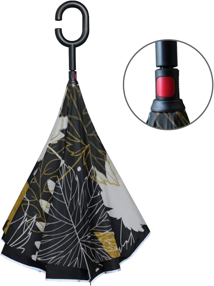 Double Layer Inverted Inverted Umbrella Is Light And Sturdy Gold Autumn Leaves Seamless Pattern Glitter Reverse Umbrella And Windproof Umbrella Edge