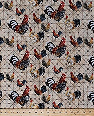 Cotton Roosters on Grid Farm Bird Cotton Fabric Print by the Yard 3AJB-1