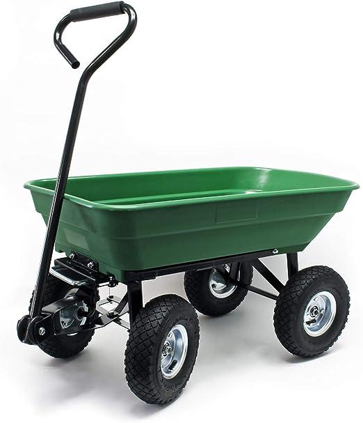 WilTec Carrito jardín basculante, Capacidad 75l, Carga 300kg, Carretilla de Transporte Carro de Mano: Amazon.es: Jardín