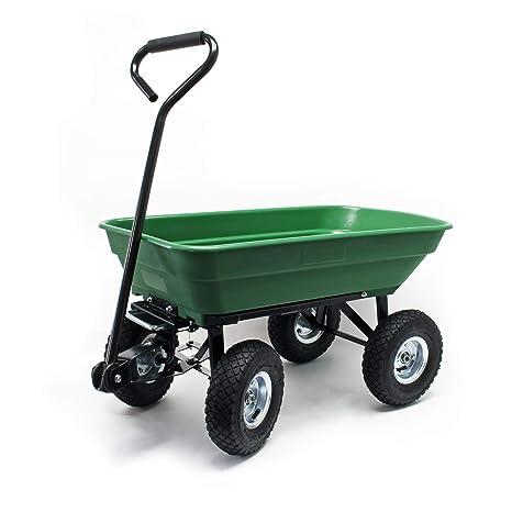 WilTec Carrito jardín basculante, Capacidad 75l, Carga 300kg, Carretilla de Transporte Carro de