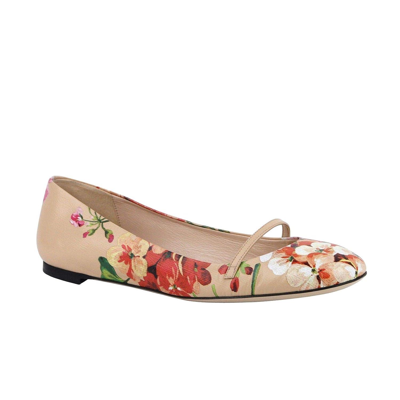379a946572fd Amazon.com  Gucci Women s Flower Detail Pink Leather Ballet Shoes 411038  5779 (EU 38.5   US 8.5)  Shoes