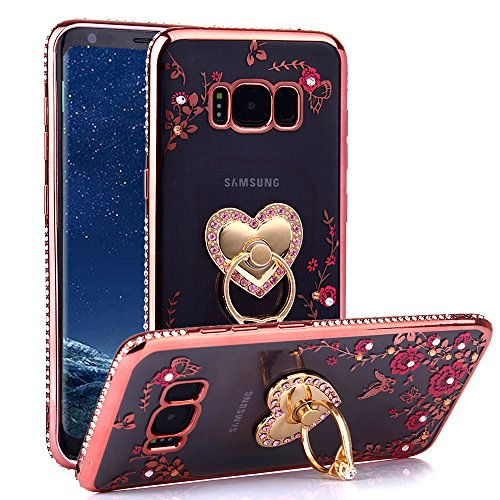CaseHaven Galaxy S8 Case, Glitter Crystal Heart Floral Series - Slim Luxury Bling Rhinestone Clear TPU Case With Ring Stand For Samsung Galaxy S8 (2017) - Rose Gold