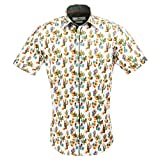 Claudio Lugli Men's Cactus Print Fashion Luxury Cotton Short Sleeve Summer Casual Shirt CP6407 2xlarge Multi