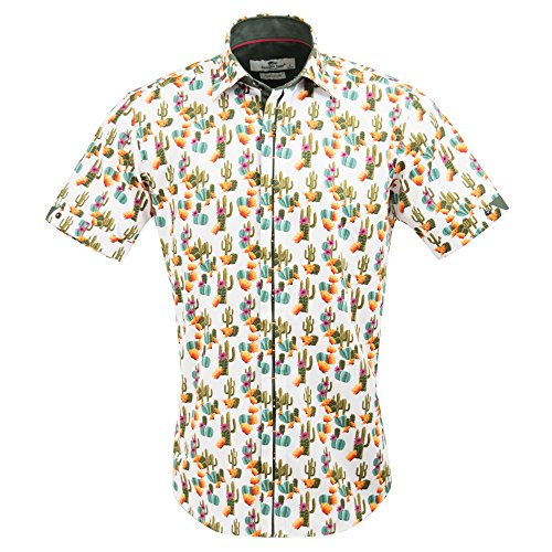 Claudio Lugli Men's Cactus Print Fashion Luxury Cotton Short Sleeve Summer Casual Shirt CP6407 2xlarge Multi by Claudio Lugli (Image #4)