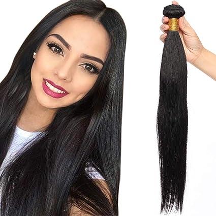 Corroer abuela justa  Extensiones de Cortina de Pelo Natural Humano Cabello Virgen Brasileño 100%  Remy Brazilian Human Hair Bundles Liso Corto 10