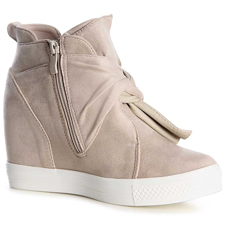 topschuhe24 1059 Damen Sneaker Keilabsatz Stiefeletten, Farbe:Rosa;Größe:39