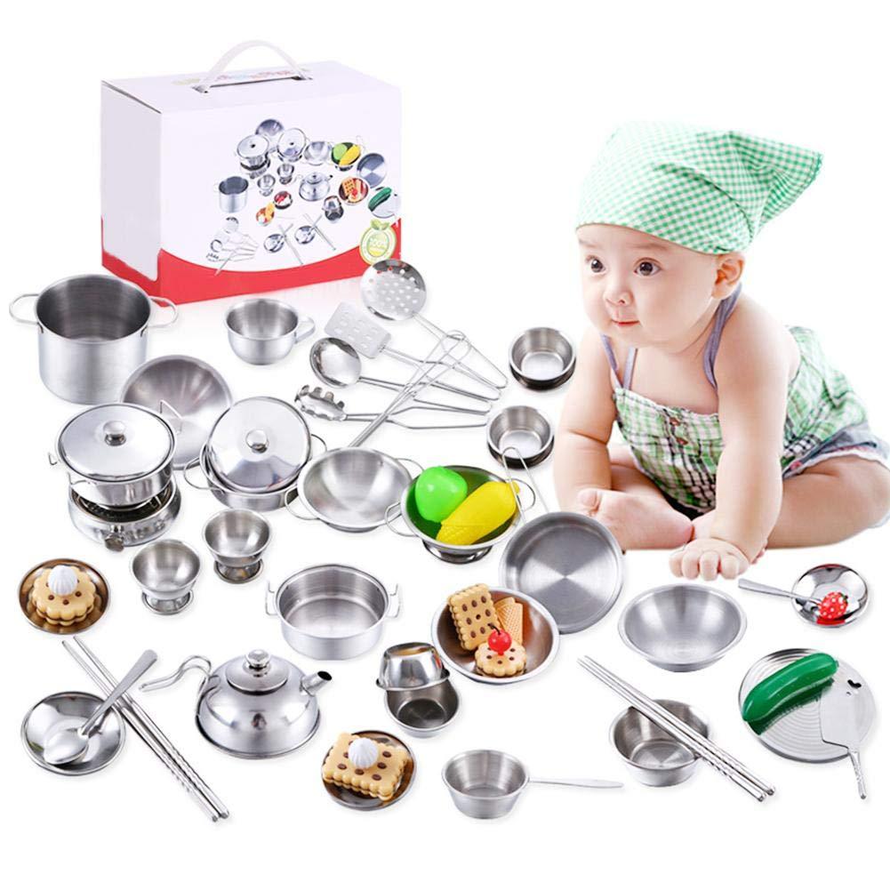 Cuisine Set de Cuisine B/éb/é Ustensiles en Acier Inoxydable Chef R/ôle Playset Mini Outils Gar/çons et Filles Cuisine Jouets Kit de Cuisine avec Bo/îte de Rangement