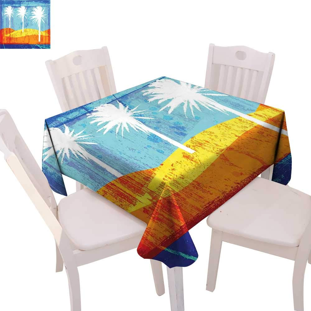 """cobeDecor Burnt Orange Dinning Tabletop DecorContemporary Motley Stained Distressed Tropic Beach with Palms Graphic Table Cover for Kitchen 50""""x50"""" Orange Blue White"""