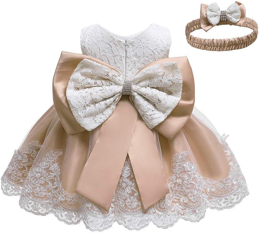 Stirnband Baby M/ädchen besticktes Bowknot Spitzenkleid T/üll Tutu Blume Prinzessin Festzug Brautjungfer Hochzeit Geburtstag Party /Ärmelloses Kleid Baby Taufe Kleid