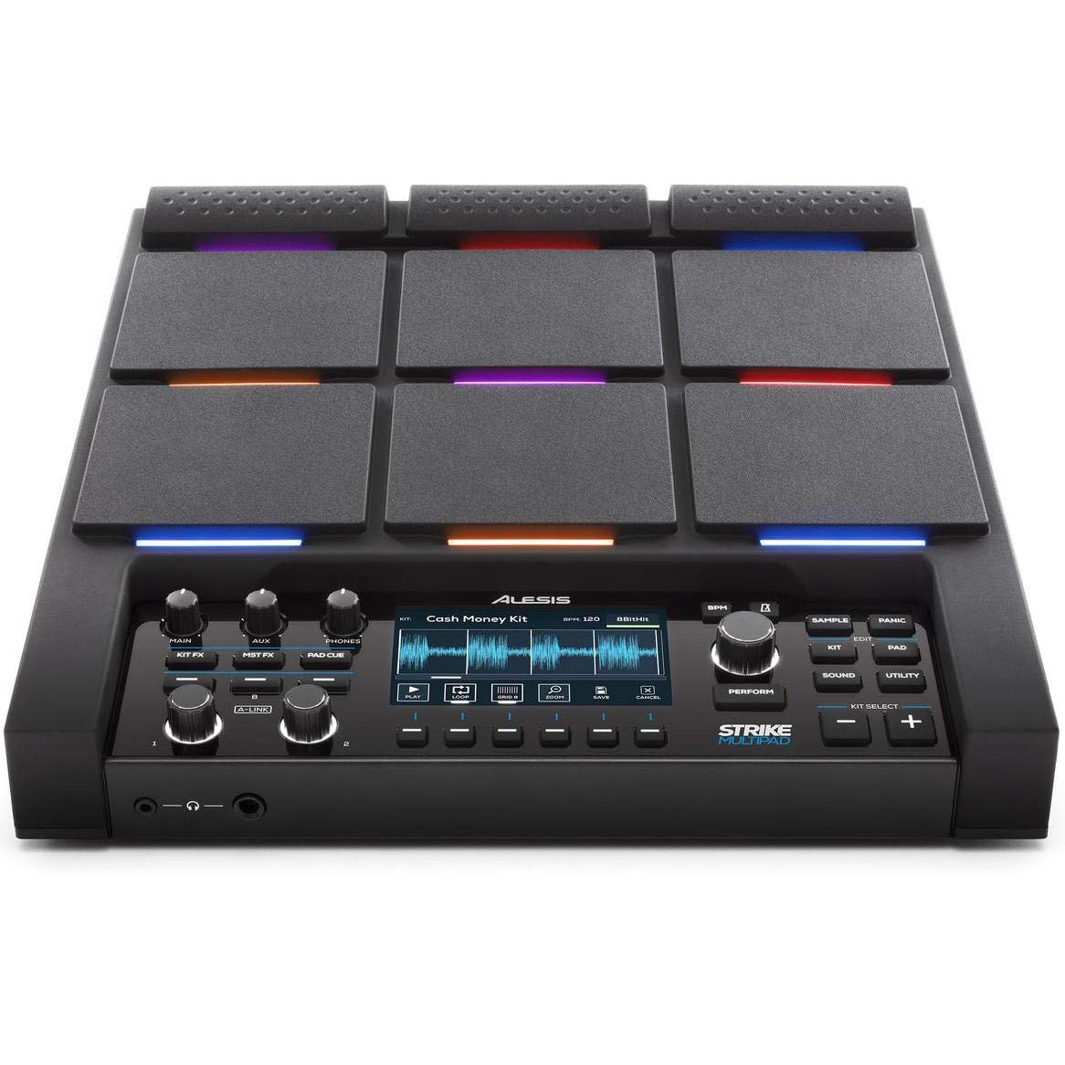 Alesis Strike MultiPad   9-Trigger Percussion Pad with RGB Backlighting, Sampler, Looper, On-Board 2-In/2-Out Soundcard, Sample loading via USB Thumb Drives and Radiant 4.3-Inch Display