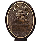 Customizable 5-1/2 Inch Antique Gold Finish Resin Best Putts Oval Golf Trophy, Includes Personalization