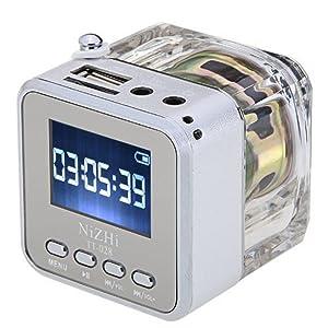 Mini Music Player,soled Portable Music TT-028 MP3 Player TF Card USB FM Radio Colorful FM Radio Silver