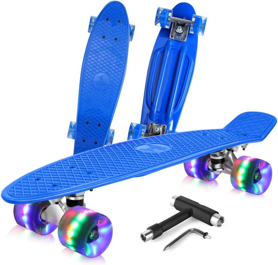 BELEEV Skateboard Complete Mini Cruiser Retro Skateboard for Kids Teens Adults / US