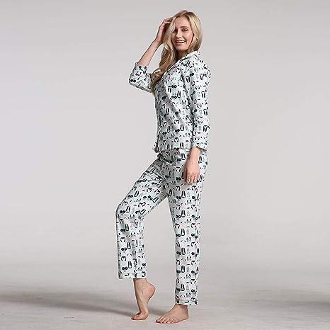 ZXIU Conjunto de Pijama Pijamas De Mujer Pijamas De Algodón De Invierno Pijamas para Pijamas De Manga Larga: Amazon.es: Deportes y aire libre