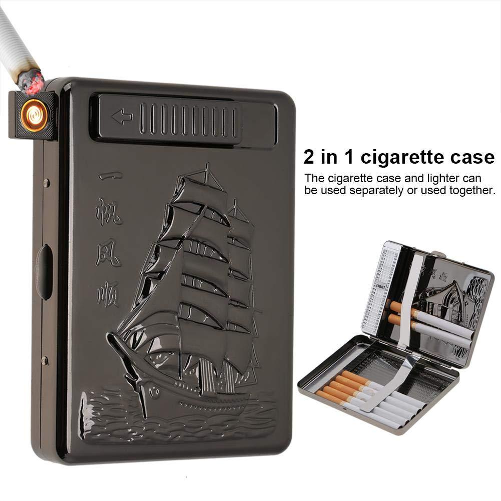 Garosa 2 En 1 Caja De Cigarrillos Lighter Metal Full Pack 20 Cigarrillos Regulares Box Holder USB Recargable Electric Cigar Lighter Flameless a Prueba De Viento con Cable USB #1