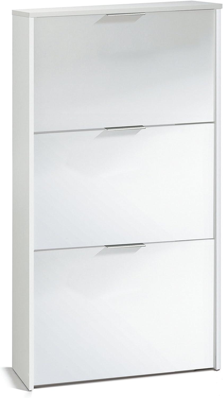 113 x 60 x 22 cm Dim PEGANE Commode /à Chaussures en Bois de 3 Portes Coloris Blanc Brillant