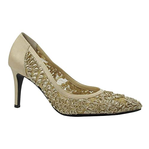 Official site Womens J Renee Camellia Pointy Toe Pump Champagne Lace/Satin Womens Champagne Lace/Satin J Renee Womens J Renee