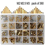 HanTof 360pcs M2 M2.5 M3 Male Female Hex Brass Spacer Standoff Screw Nut Assortment Kit for PCB Motherboard Raspberry Pi Motherboard