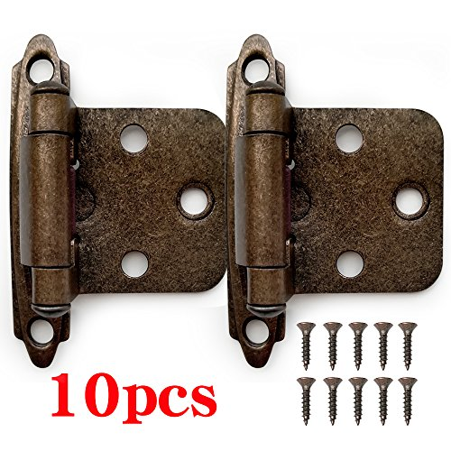 Self Closing Cabinet - Boshen 10 Pcs Kitchen Cabinet Hardware Hinges Self Closing Face Mount Hinges - Oil Rubbed Bronze